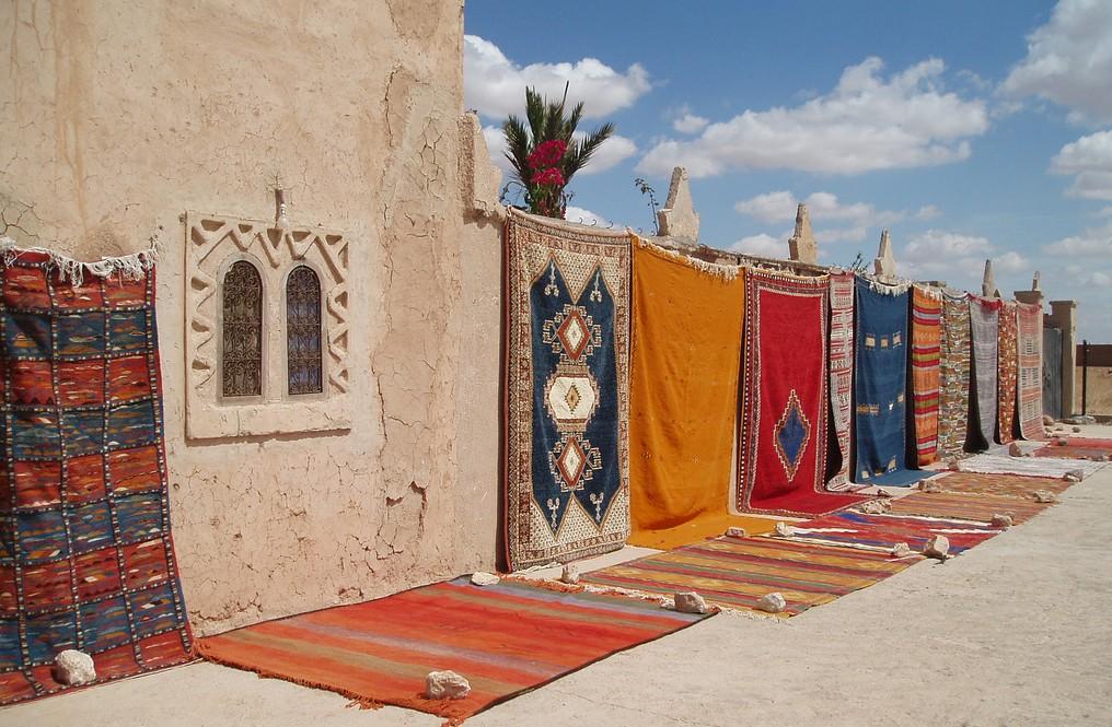 Open-air rug market in Morocco