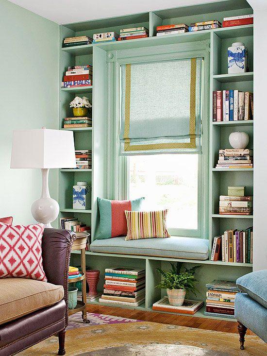 mint bookcase window
