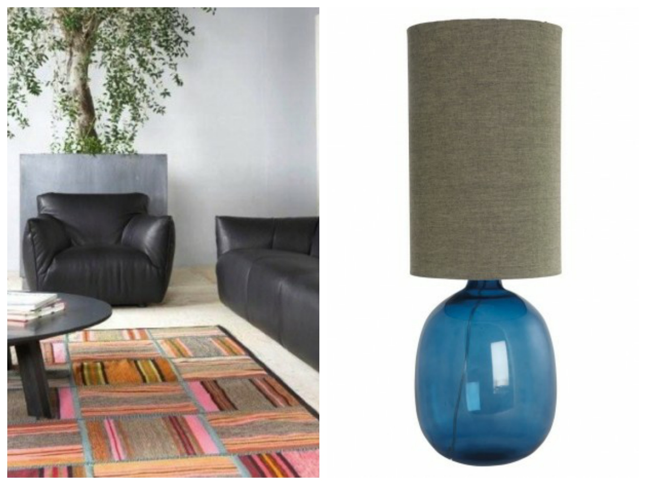 Lamp and patchwork rug from ReallyNiceThings