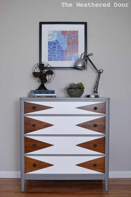 Dark chestnut, white and grey sideboard makeover