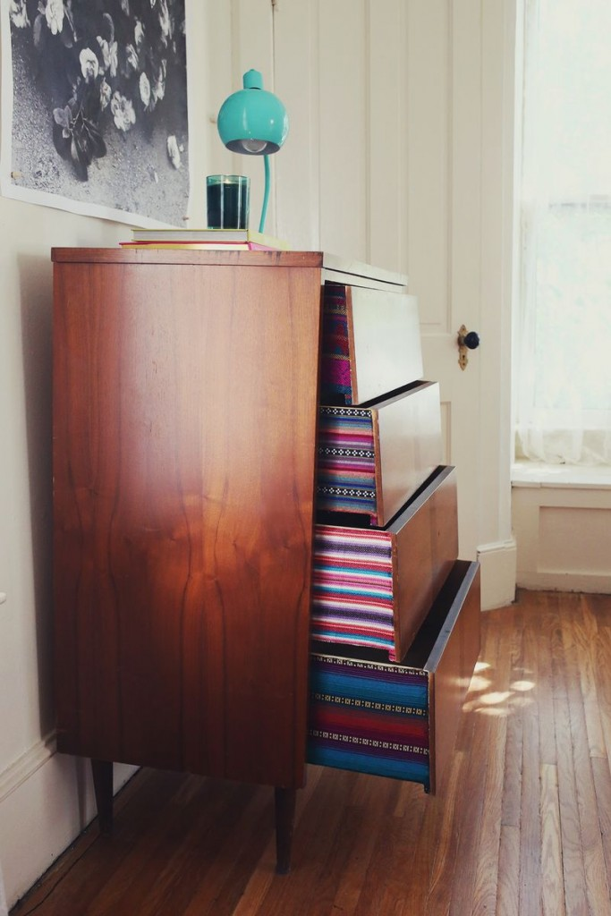 Drawers decorated with colourful fabric