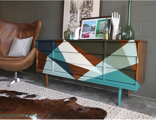 Geometric design painted sideboard
