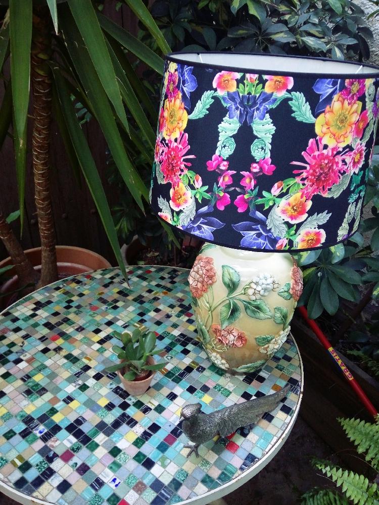 Акутср lamp with black floral screen