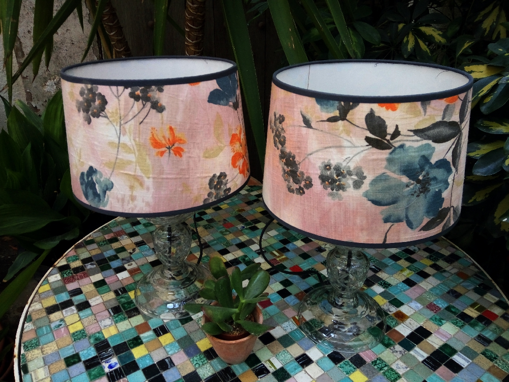Small blown glass vintage lamps