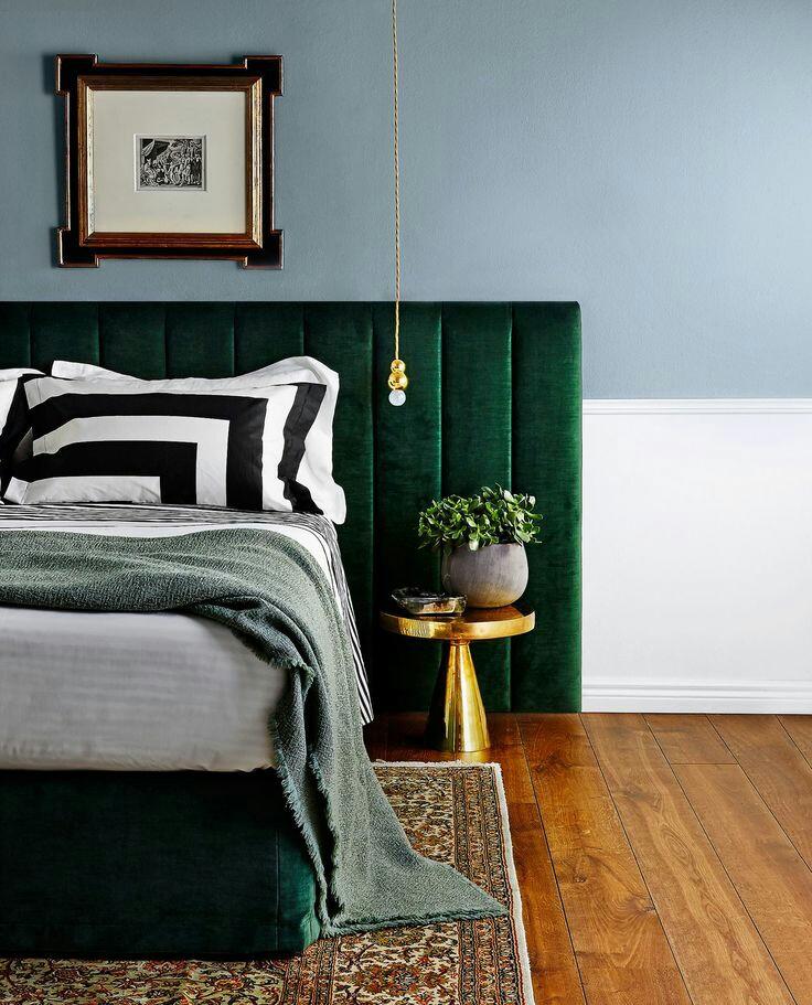 Green upholstored bedhead