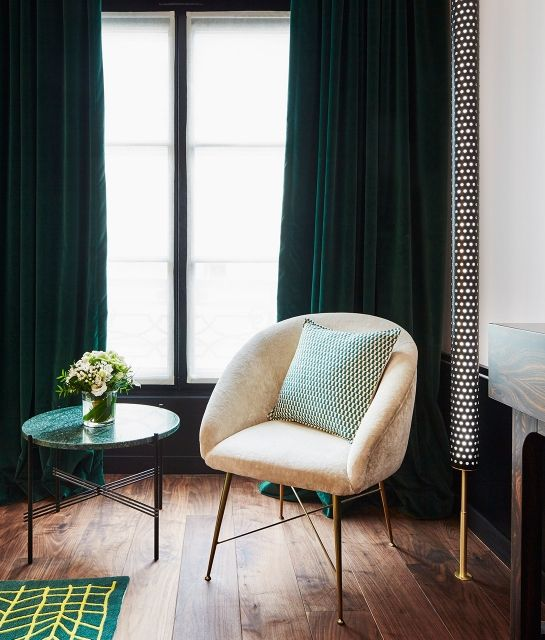 Emerald green curtains