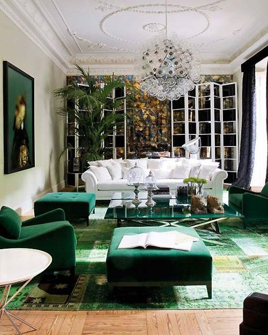 Emerald green classical sitting room