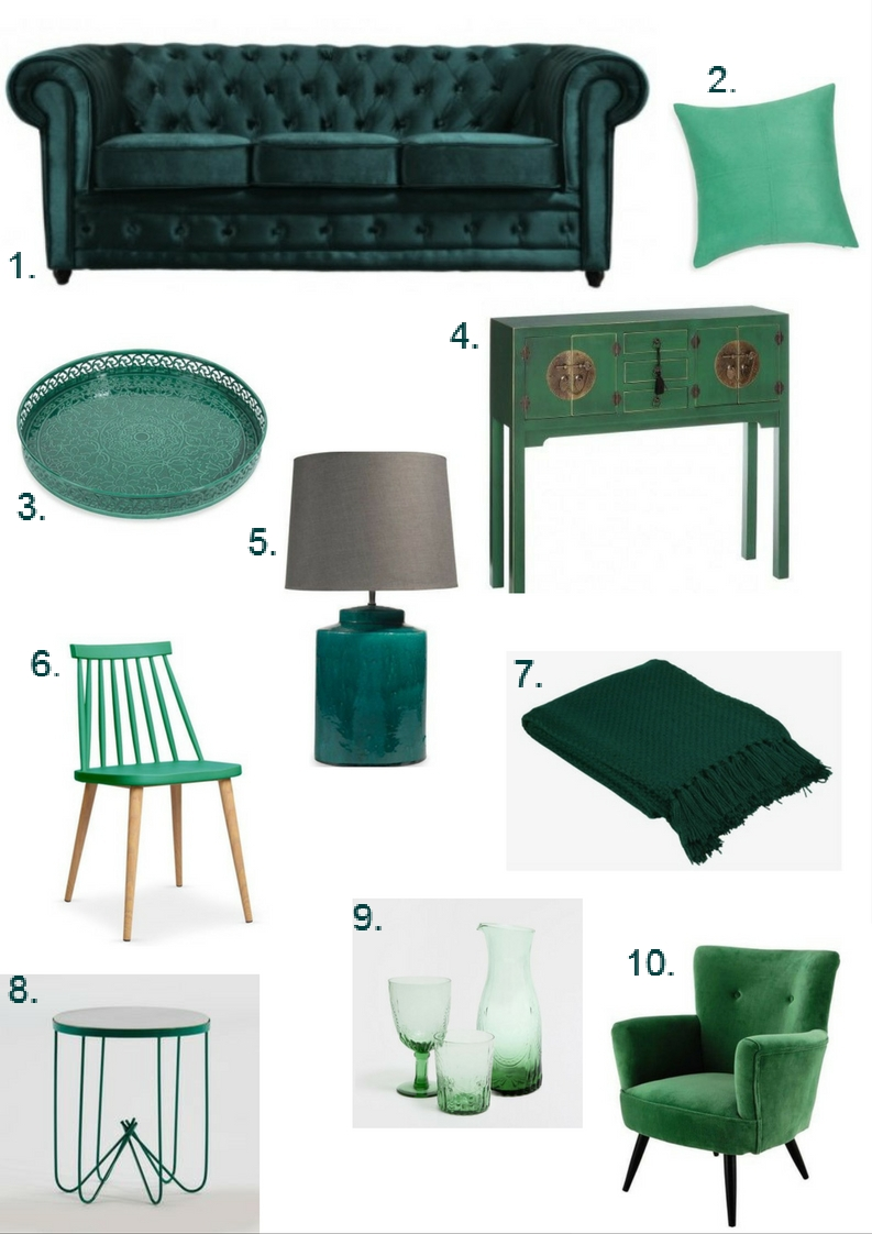Emerald green furniture and decor round-up