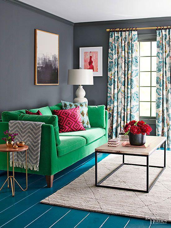 Green statement sofa
