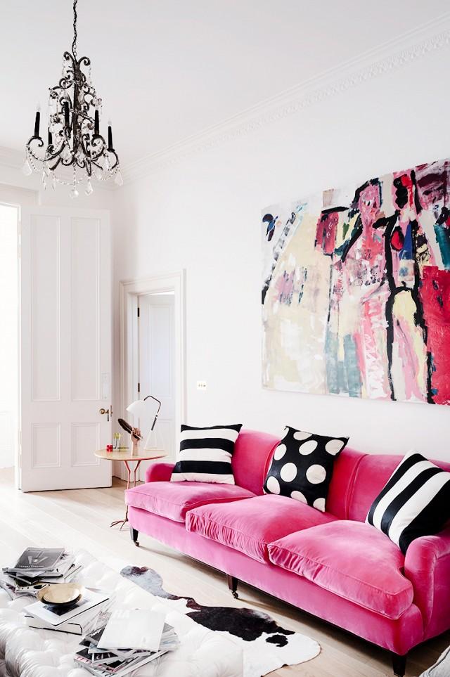 Bold neon pink statement sofa