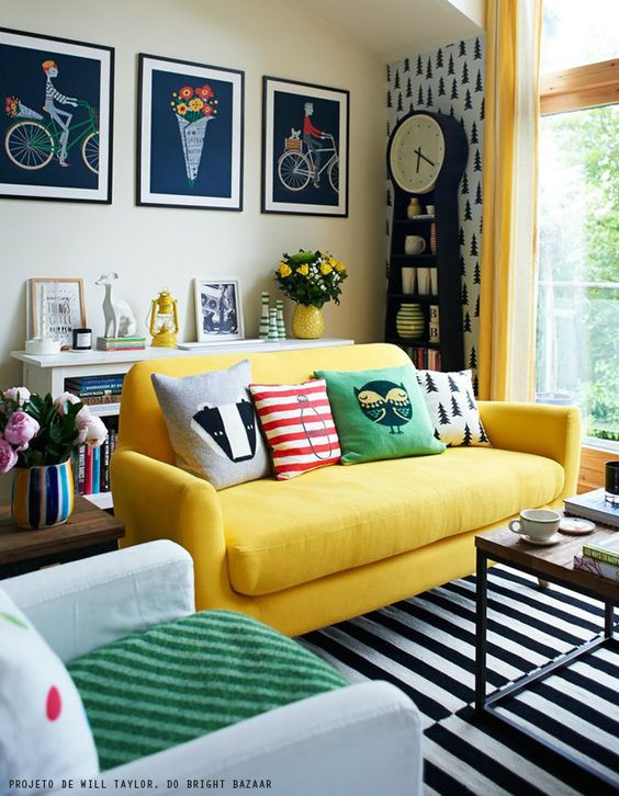 Yellow sofa in a quirky living room