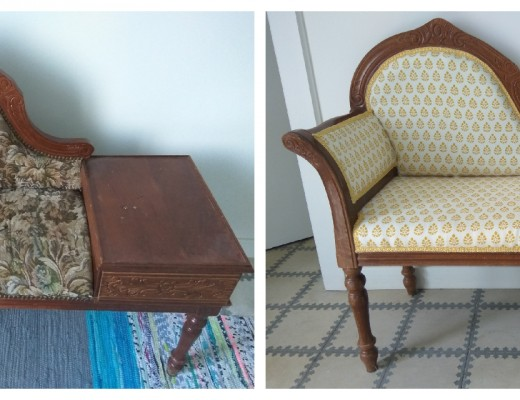 My first upholstery project: before & after