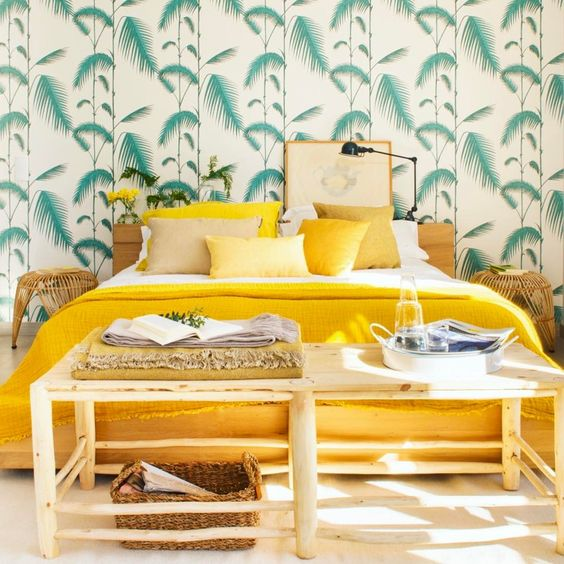 Botanical statement wallpaper in a bedroom