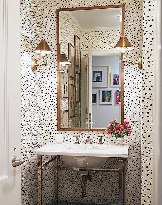 Modern glamour statement wallpaper bathroom with wallpaper