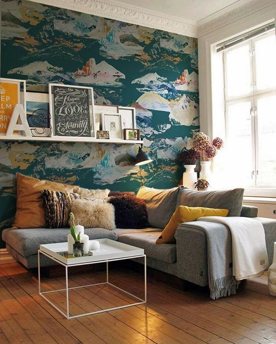 Wallpaper still very much in colour your casa for Statement wallpaper living room