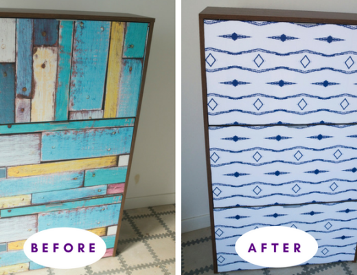 Before and after shoe cabinet makeover with self-adhesive wallpaper