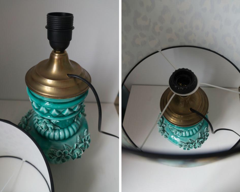 Manises turquoise vase turned lamp
