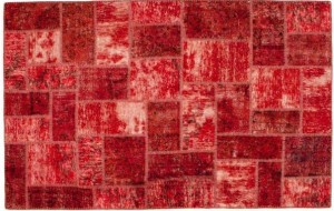 Red patchwork Persian rug