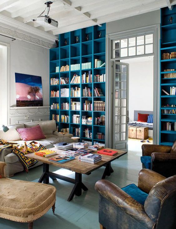 bright blue library