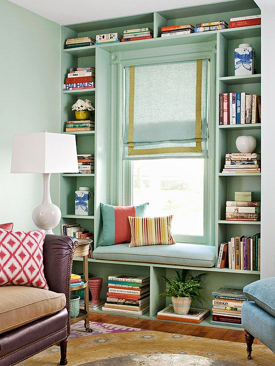 mint bookcase window