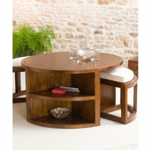 Low table set with 2 taburets