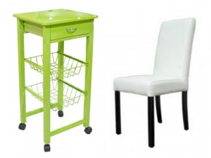 La Oca green kitchen trolley and white leather chair