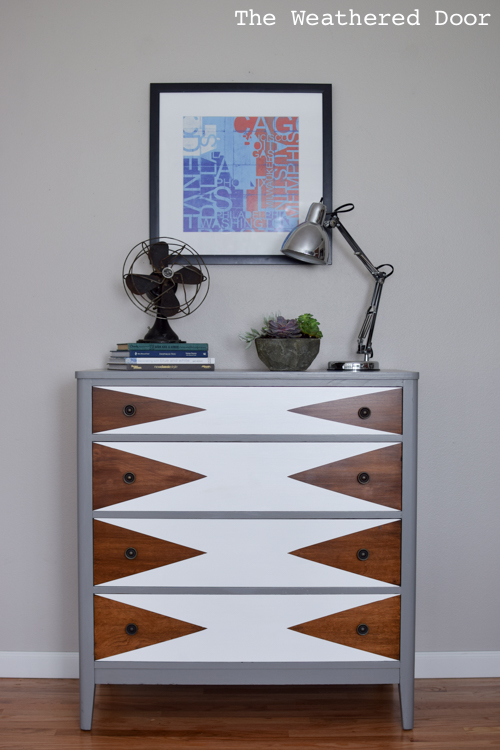 Dark chestnut, white and grey sideboard makeover