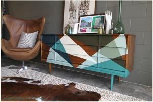 Geometric design painted sideboard