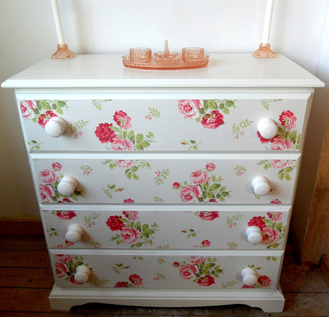 Wallpaper sideboard makeover