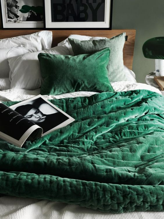 Emerald green bed cover
