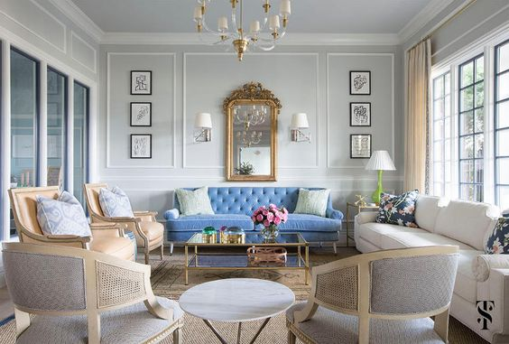 Blue statement sofa classical interior