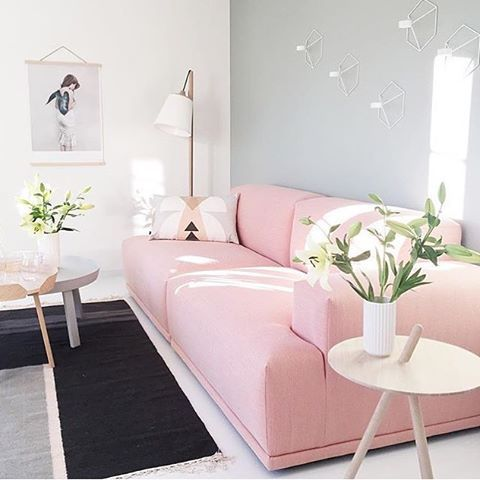 Blush pink statement sofa