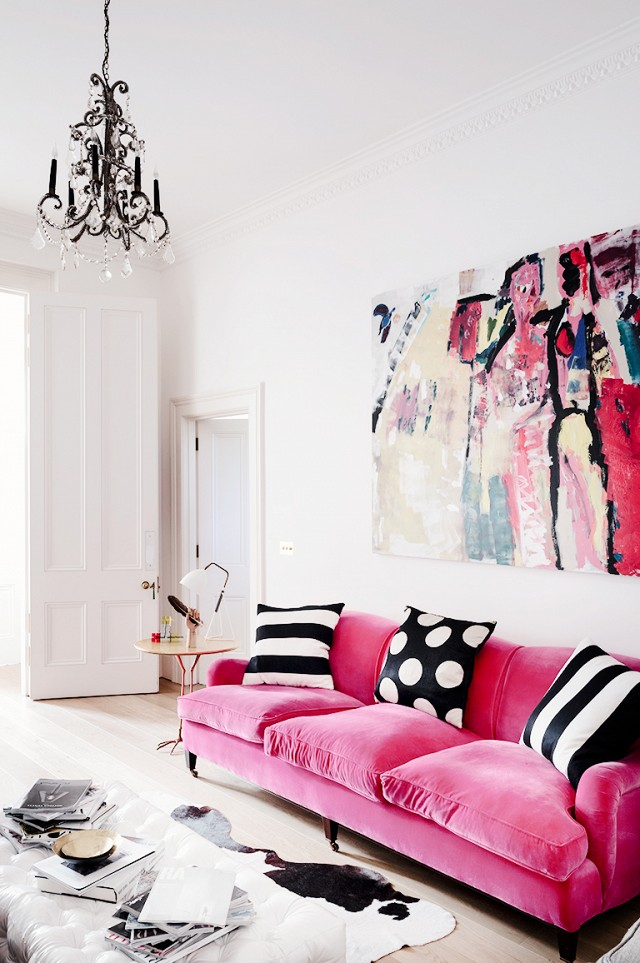 Bold neon pink statement sofa
