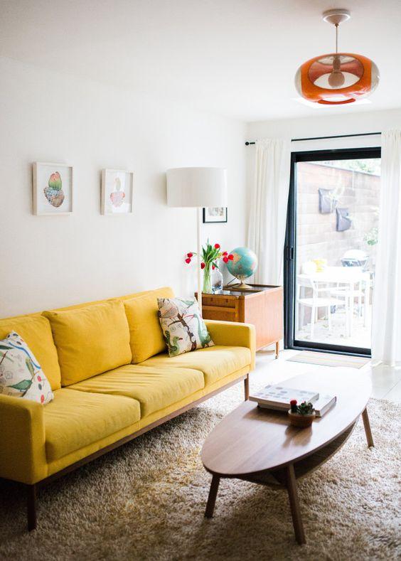 Yellow sofa retro style