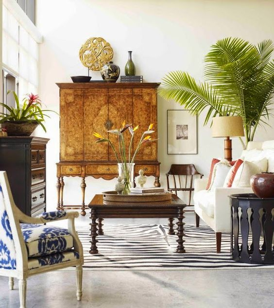 Eclectic Room With Antique Furniture