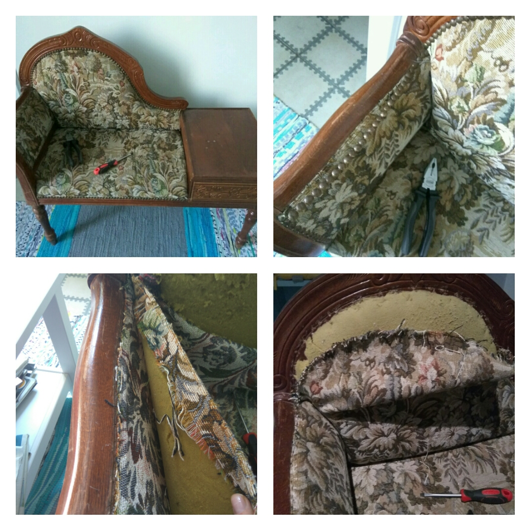 Stripping off old fabric and foam