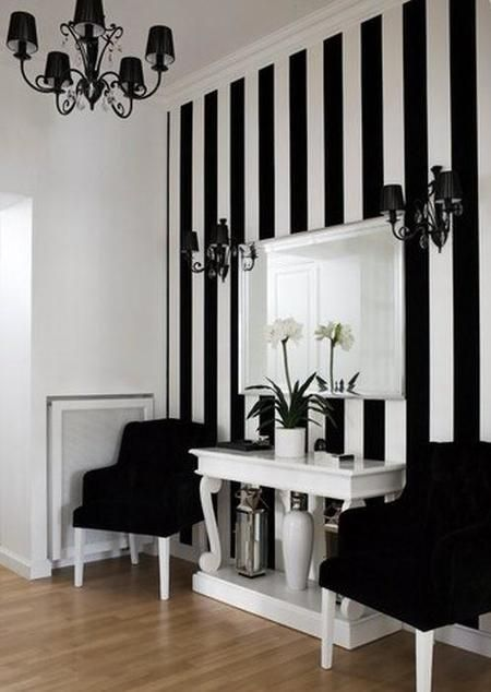 Black white striped wallpaper