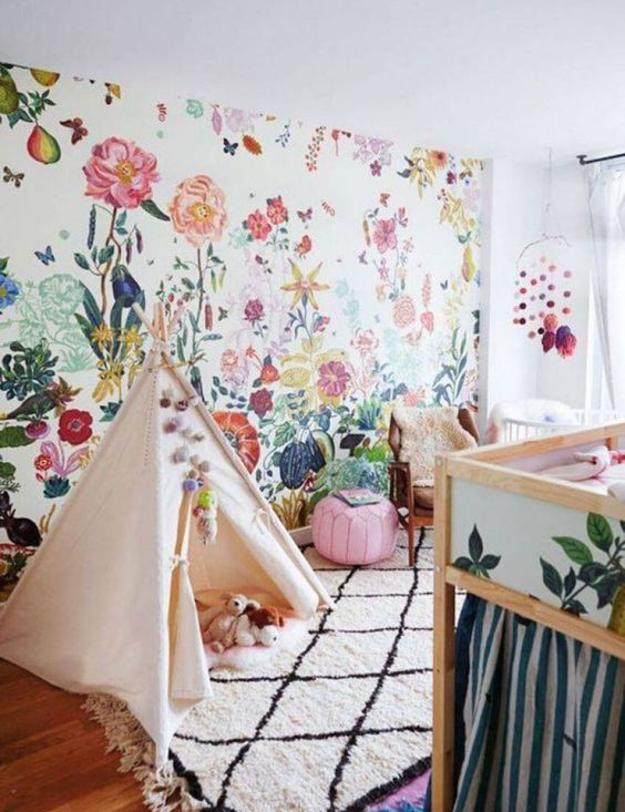 Lush floral wallpaper in a nursery