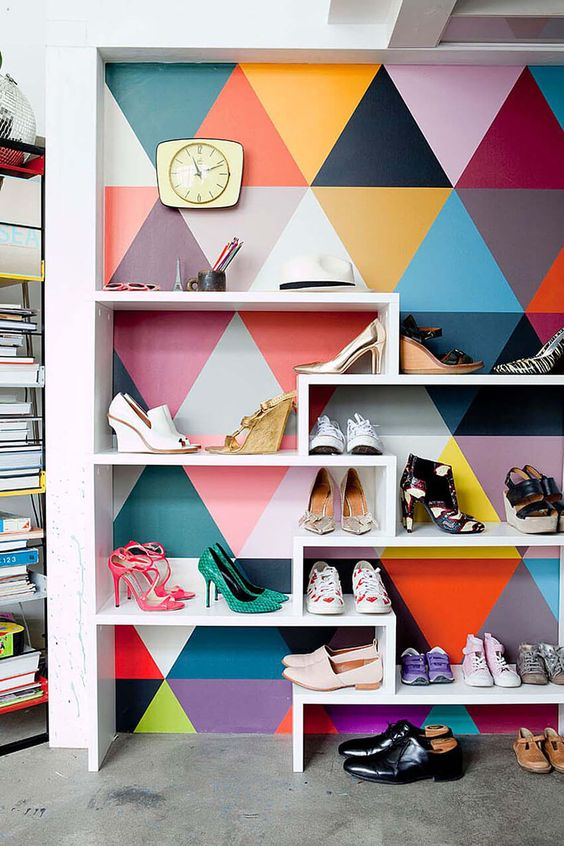 Wallpaper shoe rack