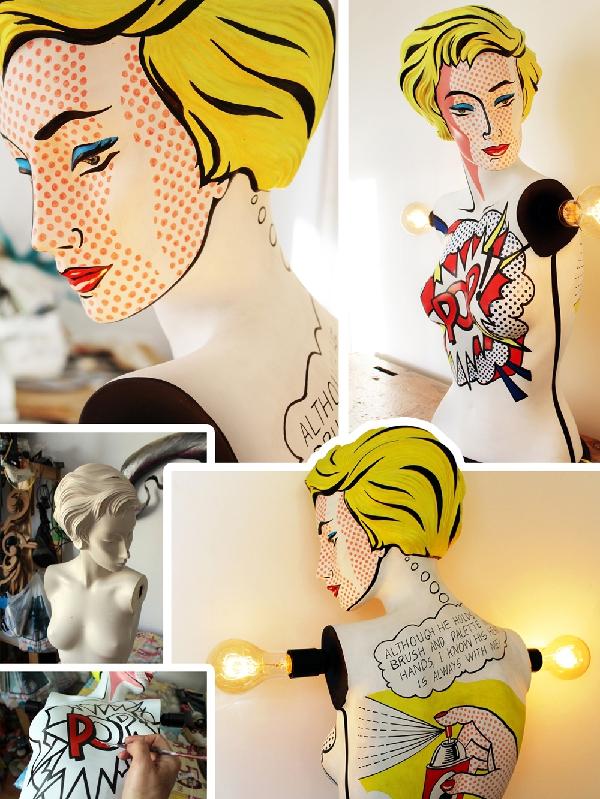 lichtenstein mannequin lamp by La Shenda Deco