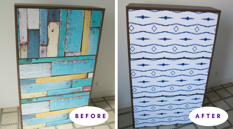 Shoe cabinet makeover with self-adhesive wallpaper