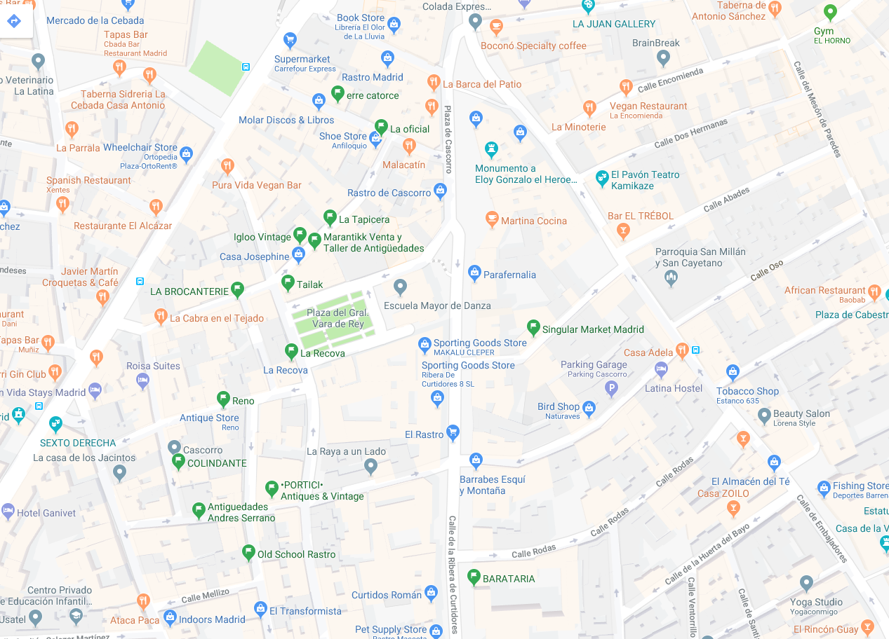 Best shops in Madrid Rastro: map
