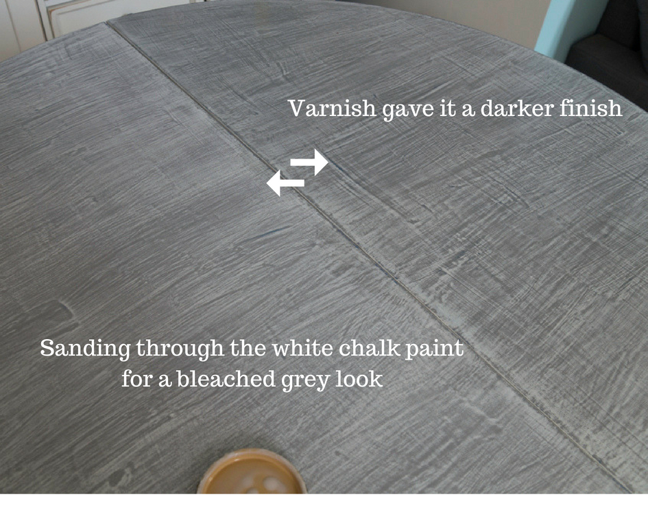 Sanding through the white chalk paint for a bleached grey look