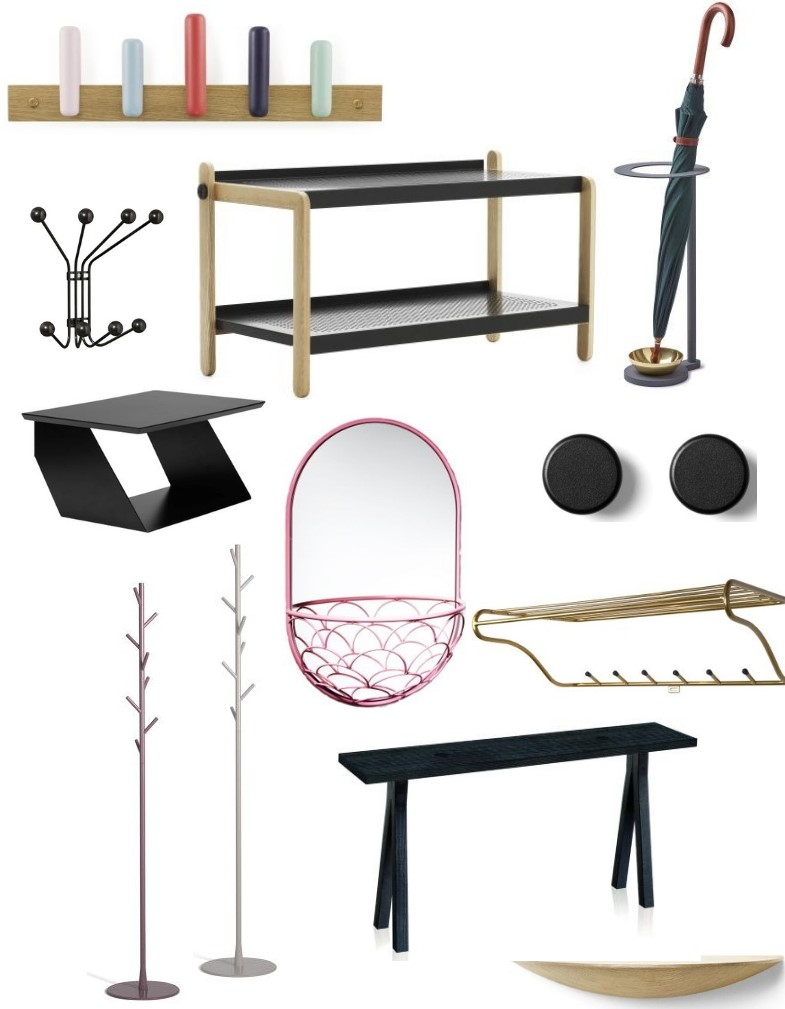 Scandinavian Design Center entryway furniture and accessories collage