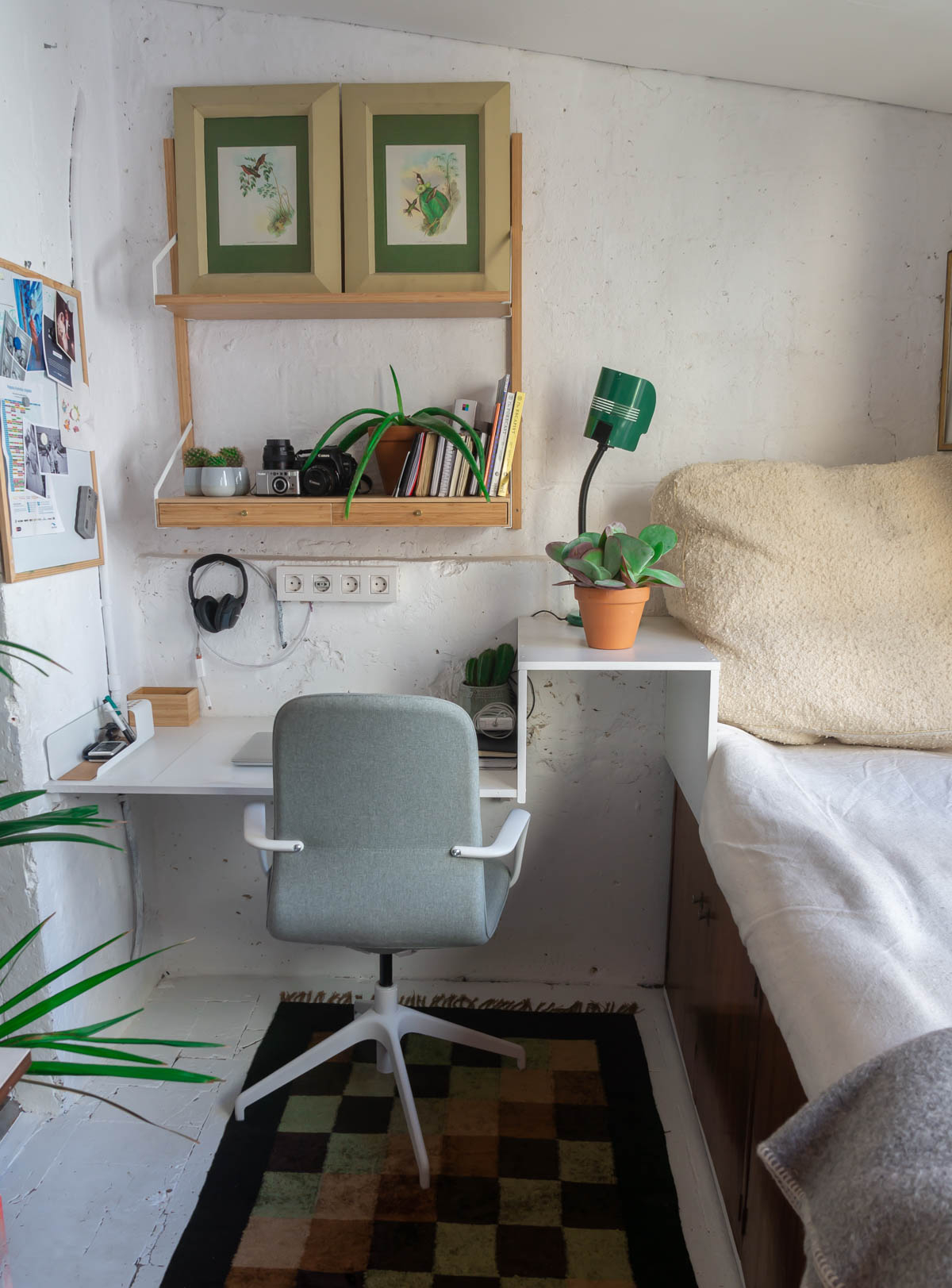 Barcelona home tour: storeroom turned into a study with a daybed