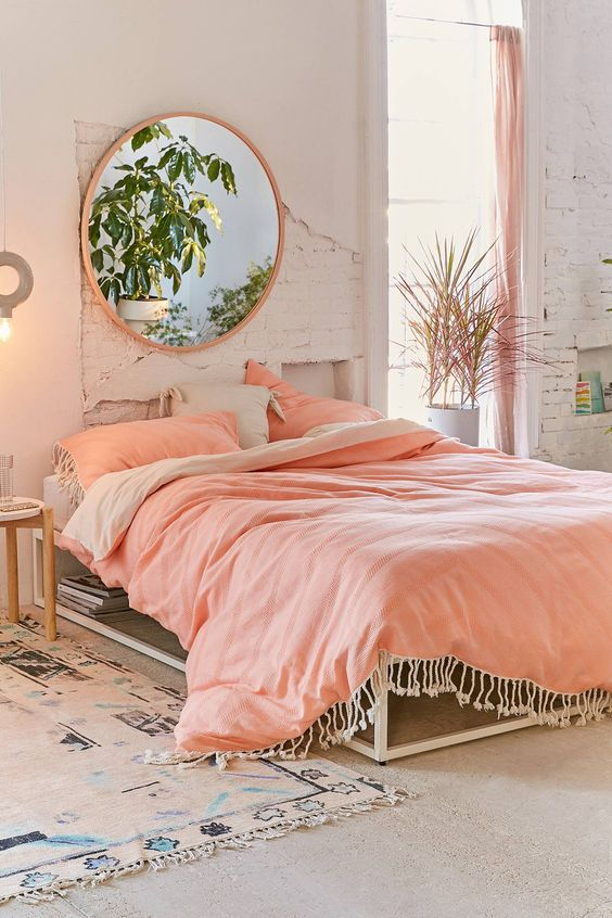 peach pink bed room