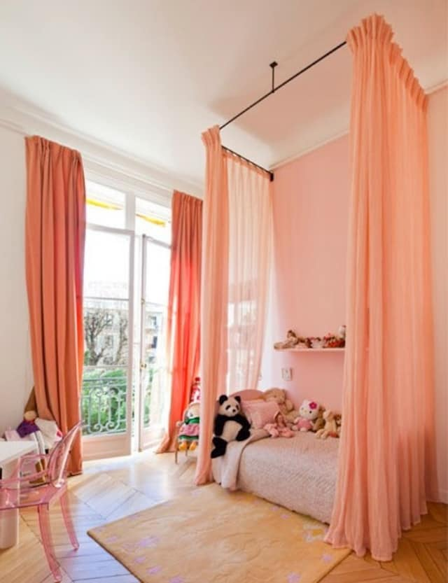 peach pink childrens room