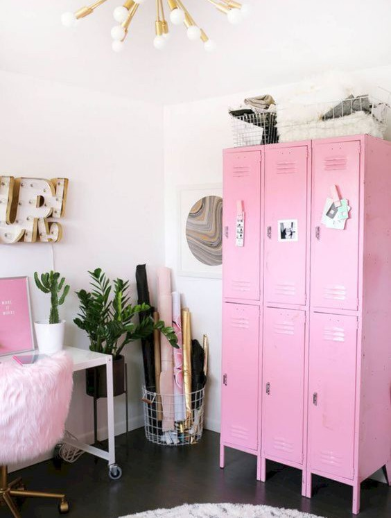 bubblegum pink metal lockers