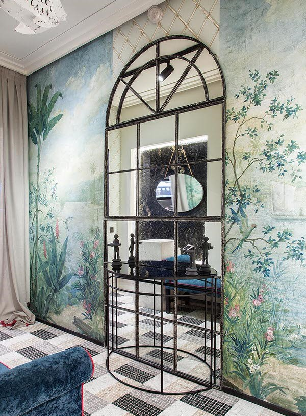 Casa Decor 2019 bathroom by Blanca Hevia - mural with framed mirror