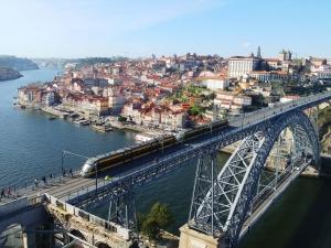 Porto panorama on the bridge